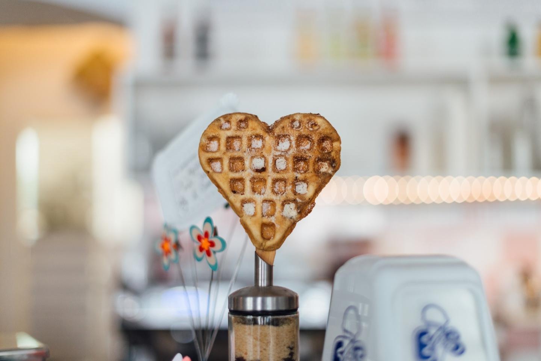 Heart Waffle breakfast